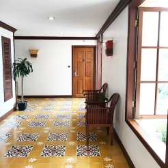 Beautiful floor tiles on every level.