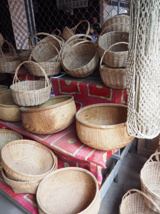 Local village stalls selling beautiful baskets.
