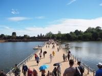 Floating bridge to enter Angkor Wat
