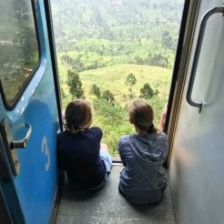 Enjoying the view out the train doors